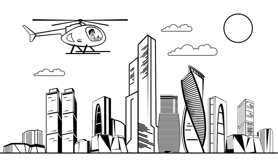 Dibujo en blanco y negro para colorear en el que una chica viaja en helicoptero sobre una ciudad moderna con rascacielos. Dibujo de skyline de una ciudad