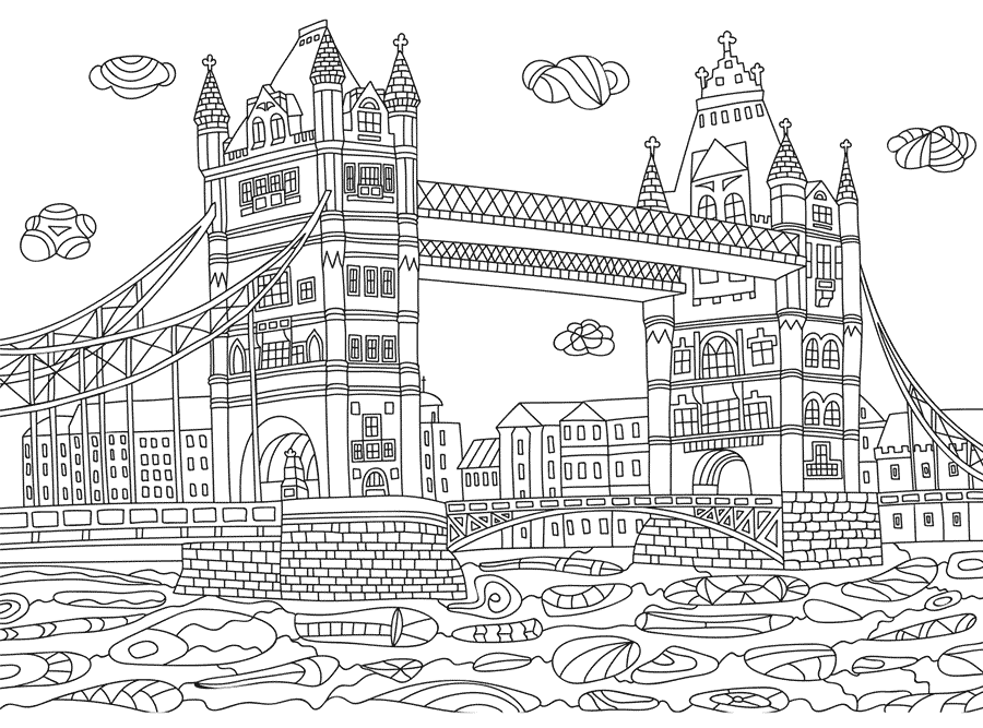 Dibujo para colorear monumentos, El Puente de Londres.