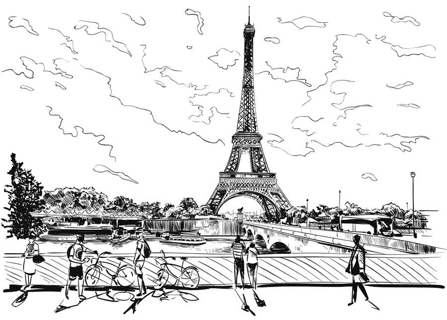 Dibujo para colorear monumentos, La Torre Eiffel de la ciudad de París.