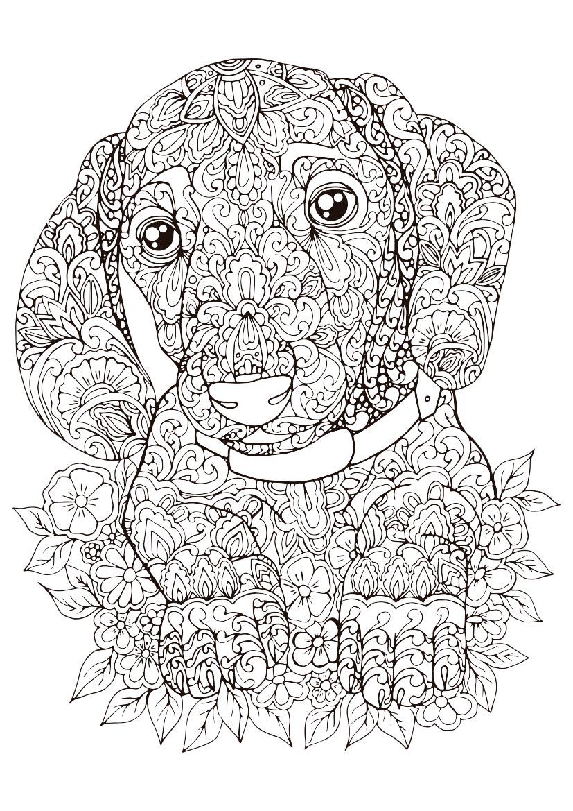 Dibujo Para Colorear Mandala Dibujo De Un Perro
