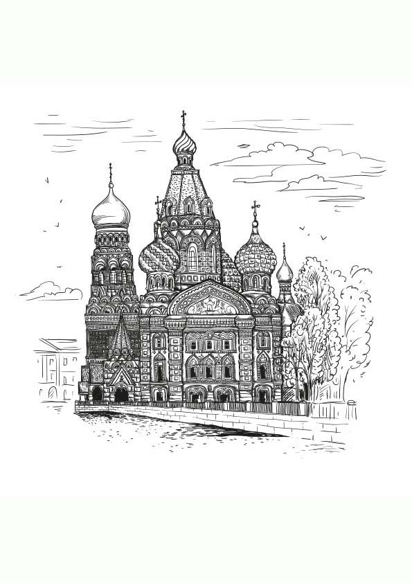 Dibujo Para Colorear Mandala Ilustración Silueta Iglesia De