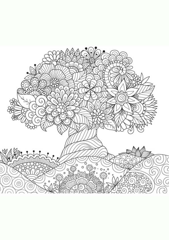 Dibujo Para Colorear Mandala Ilustración Silueta De Un árbol