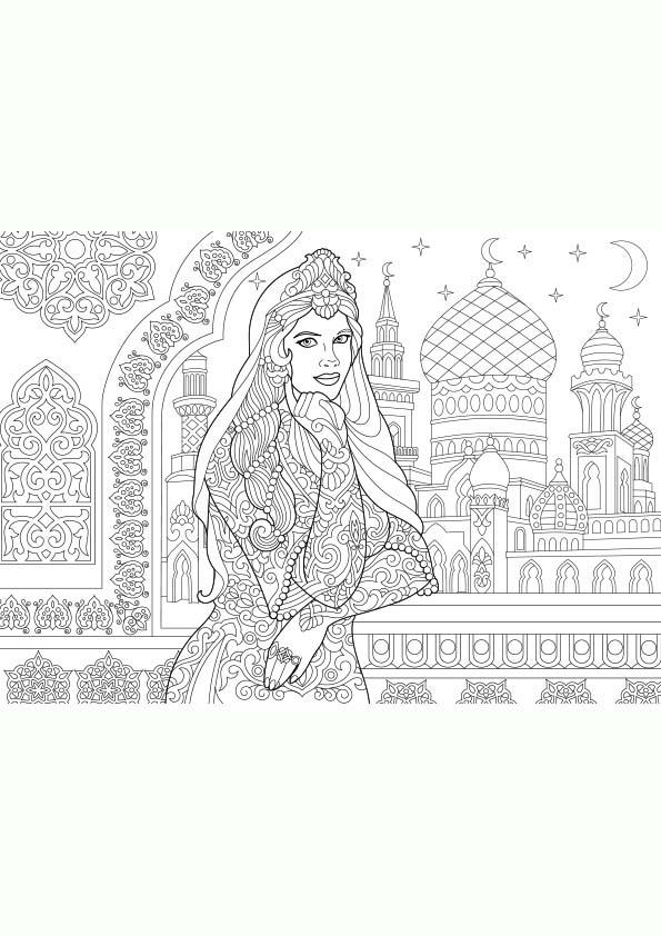 Dibujo Para Colorear Mandala Ilustración Silueta De Una Mujer Turca