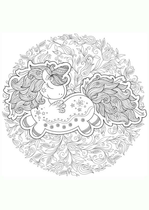 Dibujo Para Colorear Mandala Ilustracion Silueta Unicornio Magico