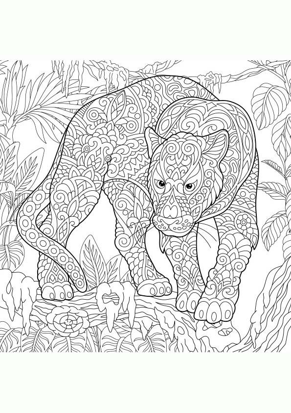 Dibujo Para Colorear Mandala De Una Pantera En La Selva