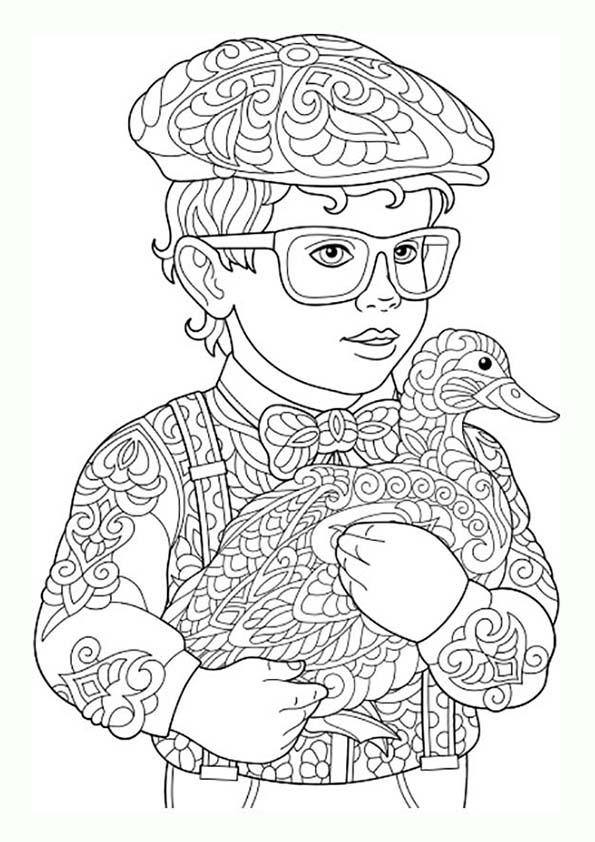 Dibujo Para Colorear Mandala Ilustración Silueta Niño Con Pato