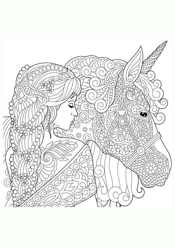 Dibujo Para Colorear Mandala Ilustración Silueta De Una Chica Con Un