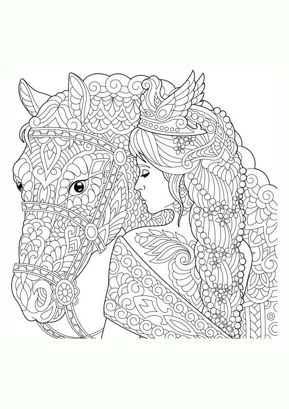 Dibujo Para Colorear Mandala Ilustración Silueta De Una Chica