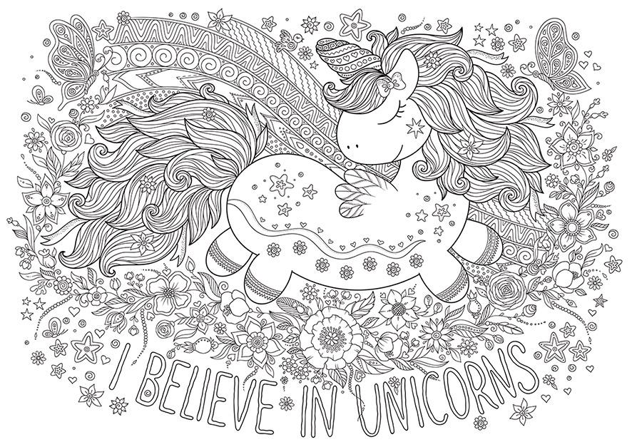 Dibujo Para Colorear Mandala Ilustración Silueta Unicornio