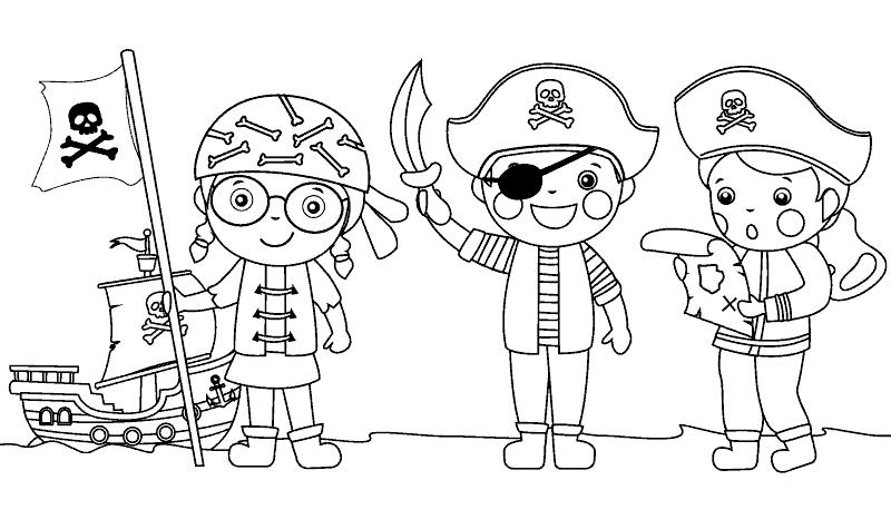 Juegos con dibujos para colorear piratas