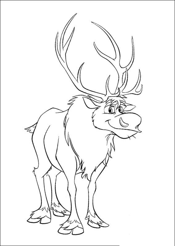 Dibujo para colorear de Sven de la pelcula Frozen