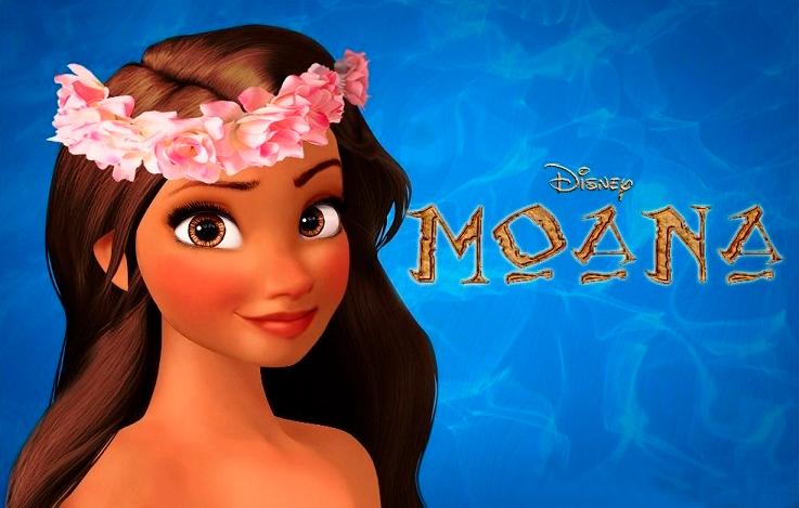 Dibujo para colorear de la Princesa Moana de Disney con logotipo
