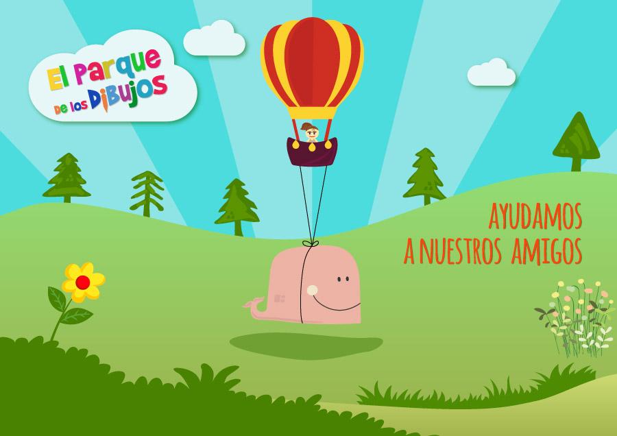 Dibujos infantiles de El Parque de los Dibujos: Serie Ayudamos a nuestros amigos. Episodio 1, La ballena que se encontró en mitad del campo.