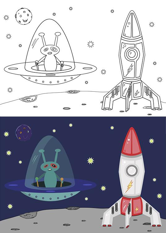 Dibujo para colorear de una nave con marciano pilotando y otra nave preparada par despegar