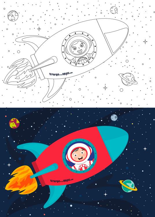 Dibujo para colorear del niño Mariano viajando en una nave espacial