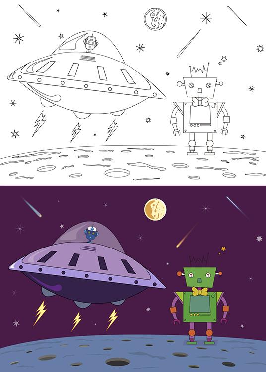 Dibujo para colorear del robot Visini aterrizando en un platillo volante mientras el robot Carmelo lo espera en el planeta