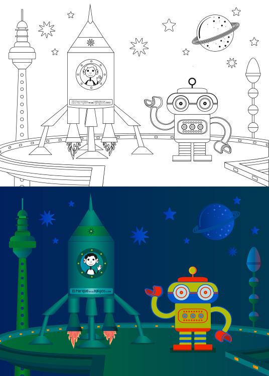 dibujo para colorear de una nave con forma de cilindro