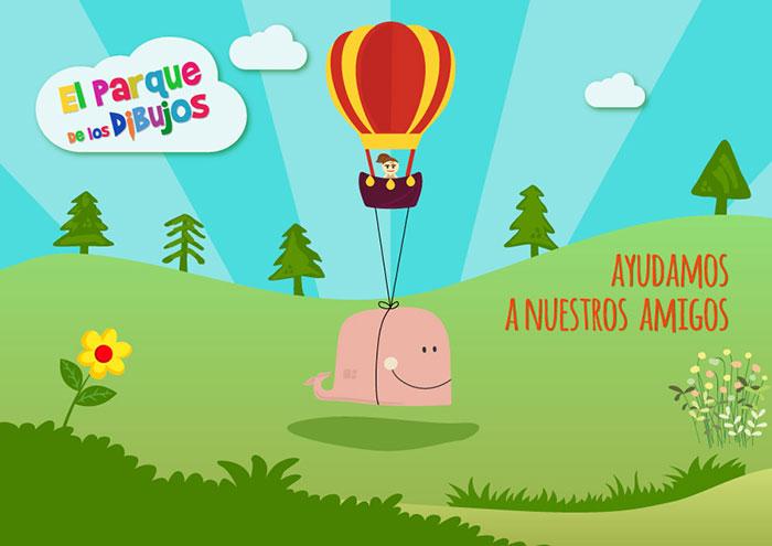 Dibujos animados infantiles de El Parque de los Dibujos: Serie Ayudamos a nuestros amigos. Episodio 1, La ballena que se encontró en mitad del campo.