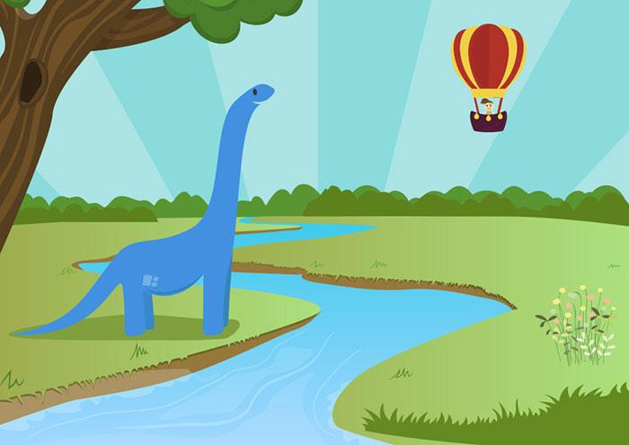 Dibujos animados infantiles de El Parque de los Dibujos: Serie Ayudamos a nuestros amigos. Episodio 2, El dinosaurio que no podía cruzar el río