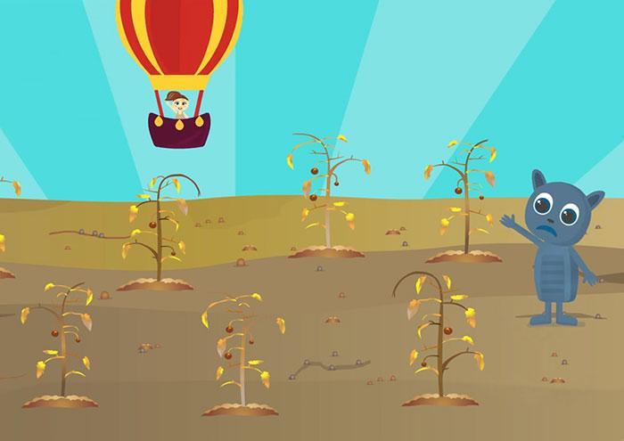 Dibujos animados infantiles de El Parque de los Dibujos: Serie Ayudamos a nuestros amigos. Episodio 3, Michu y las tomateras secas