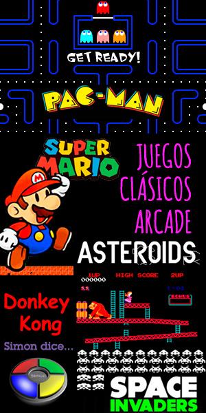 Juegos clásicos Arcade, comecocos, pacman, supermario, space invaders, tetris