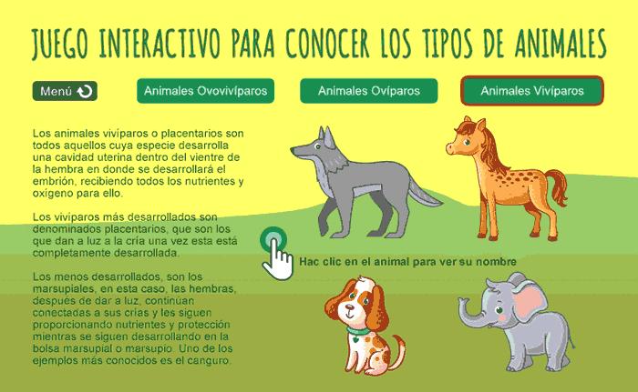 Juego interactivo educativo para conocer los tipos de animales que existen