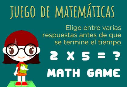 Juego de matemáticas. Elejir la respuesta correcta.