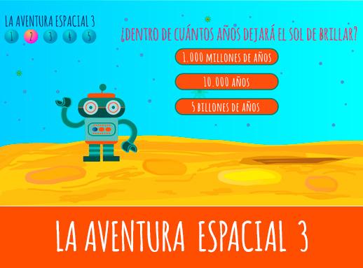 Juego de preguntas y respuestas La aventura espacial 3 presentado por el robot BIK