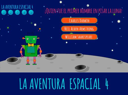 Juego de preguntas y respuestas La aventura espacial 4 presentado por el robot Carmelo