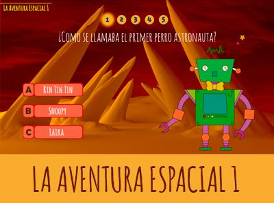 Juego de preguntas y respuestas La aventura espacial con el robot Carmelo